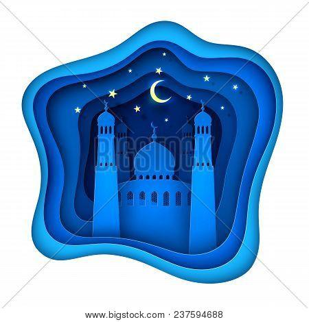 Ramadan Kareem Muslim Islamic Holiday Decoration With Mosque On Night Sky With Moon, Stars Backgroun