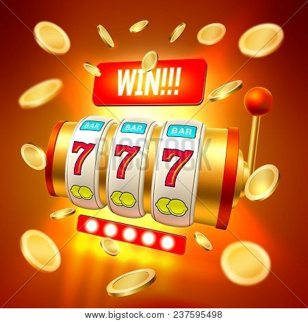 Golden Slot Machine With Handle, Triple Seven 777 Lucky Numbers With Golden Conis, Win. 3d Casino An