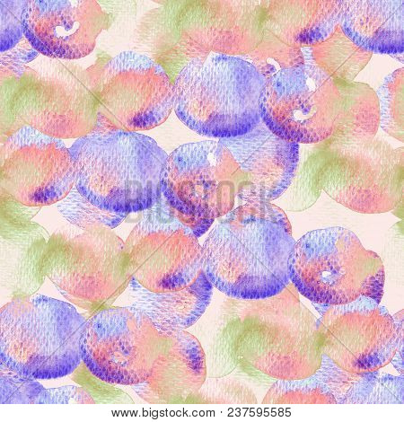 Cute Geometric Watercolor Pattern. Wet Fluid Brush Paint Background.  Abstract Template Seamless Des