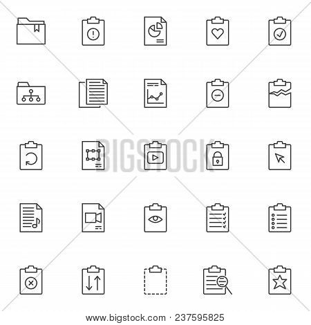 File And Folders Outline Icons Set. Linear Style Symbols Collection, Line Signs Pack. Vector Graphic