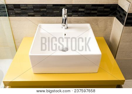 Modern Washbasin On The Pedestal In The Bathroom
