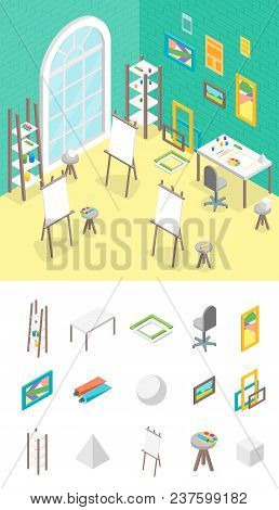 Artist Workplace And Elements Part Isometric View Professional Community, Studio Or Coworking Center