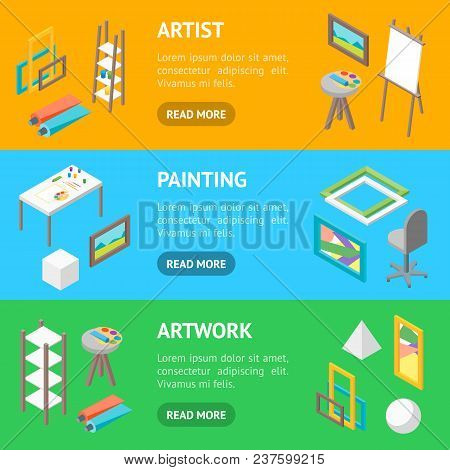 Artist Workplace Interior With Furniture Banner Horizontal Set Isometric View Professional Community