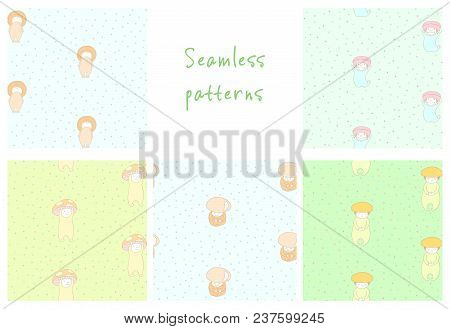Set Of Hand Drawn Cute Seamless Vector Patterns With Mushrooms: Fly Amanita, Red Capped Scaber Stalk