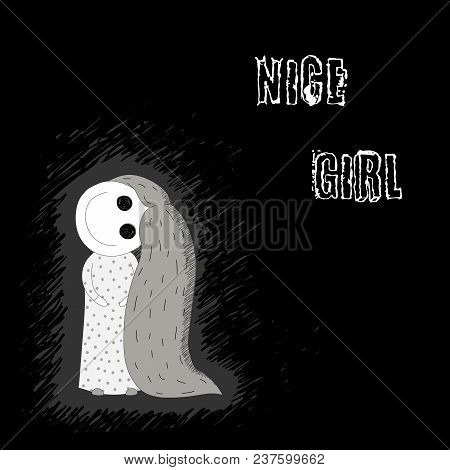Hand Drawn Vector Illustration Of A Creepy Smiling Little Girl With Big Spooky Eyes, Her Head Turned