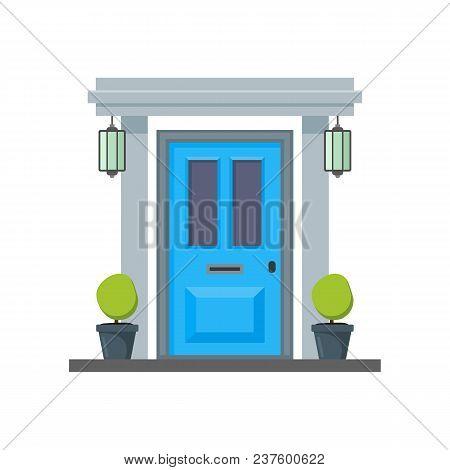 Cartoon Blue Front Door House Vector Photo Bigstock