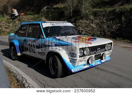 Imperia Italy - April 22 2018 - 65th Sanremo Rally: A Fiat 131 Abarth Engaged In The Race During The