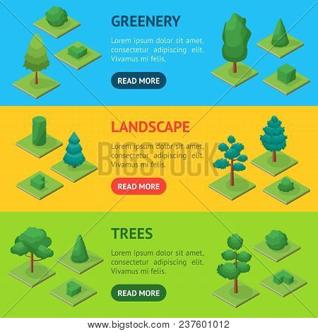 Green Trees And Shrubs Public Park Or Square Banner Horizontal Set 3d Isometric View. Vector Illustr