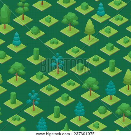 Green Trees And Shrubs Public Park Or Square Seamless Pattern Background 3d Isometric View. Vector I