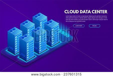 Data Center Banner. Servers Isometric Vector Line Illustration. Cloud Hosting Concept. Internet Tech