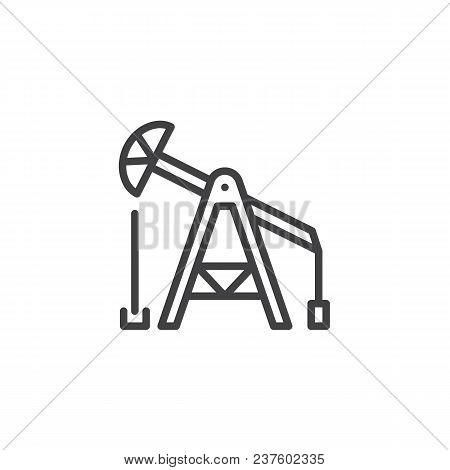 Oil Pump Outline Icon. Linear Style Sign For Mobile Concept And Web Design. Oil Derrick Simple Line