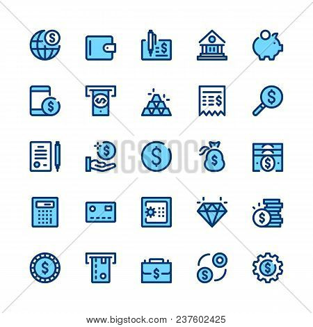 Banking, Money, Finance Line Icons Set. Modern Graphic Design Concepts, Simple Symbols, Elements, Pi