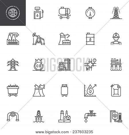 Oil Industry Outline Icons Set. Linear Style Symbols Collection, Line Signs Pack. Vector Graphics. S