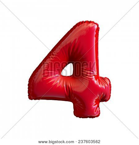 Number 4 (four) of red balloons on a white background. 3d rendering