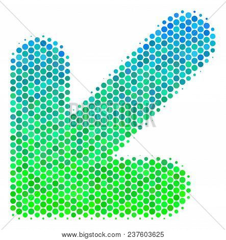 Halftone Circle Arrow Down Left Icon. Pictogram In Green And Blue Color Tinges On A White Background