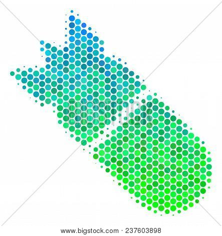 Halftone Round Spot Aviation Bomb Icon. Pictogram In Green And Blue Color Tones On A White Backgroun