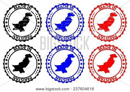 Made In Pakistan - Rubber Stamp - Vector, Pakistan Map Pattern - Black, Blue And Red