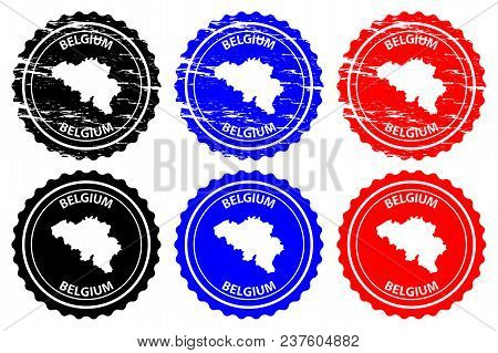 Belgium - Rubber Stamp - Vector, Belgium Map Pattern - Sticker - Black, Blue And Red