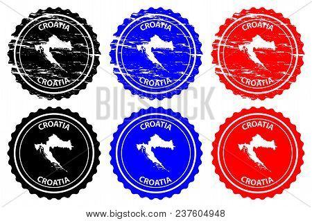 Croatia - Rubber Stamp - Vector, Croatia Map Pattern - Sticker - Black, Blue And Red
