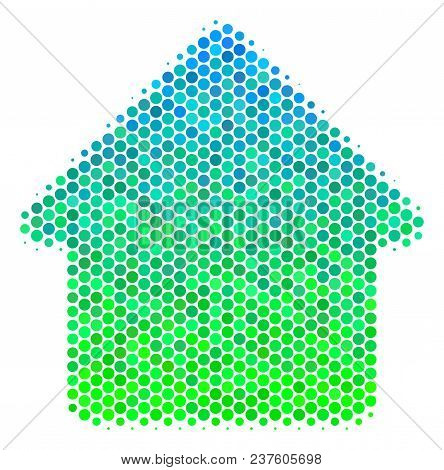 Halftone Circle Cabin Icon. Pictogram In Green And Blue Color Hues On A White Background. Vector Con