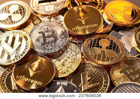 A Lot Of Coins Of Various Crypto Currencies
