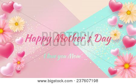 Mother's Day Greeting Card With Square Frame And Paper Cut Flowers On Colorful Modern Geometric Back