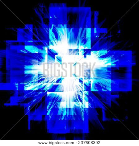 abstract blue squares with lightning. on a dark background