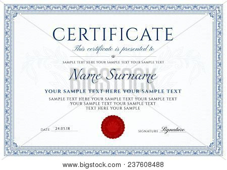 Certificate, Diploma Of Completion (design Template, White Background) With Blue Frame, Border, Ligh