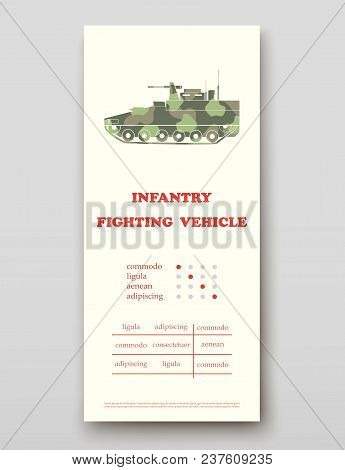 Infantry Fighting Vehicle Technology Annual Report Brochure Flyer Design Template Vector, Leaflet Co