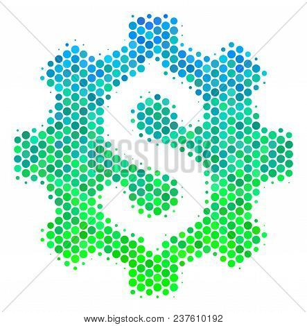 Halftone Round Spot Development Cost Icon. Icon In Green And Blue Shades On A White Background. Vect