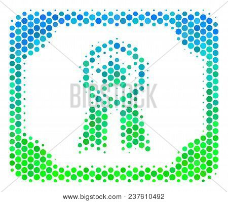 Halftone Round Spot Diploma Pictogram. Icon In Green And Blue Color Tinges On A White Background. Ve