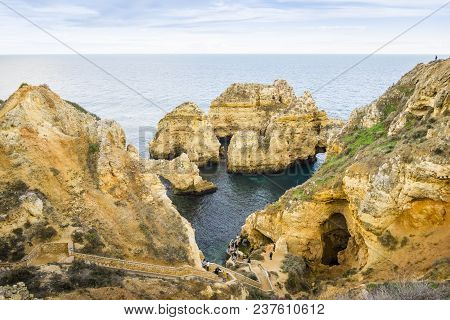 Stunning Cliffs And Arches In Ponta Da Piedade, Lagos, Algarve, Portugal