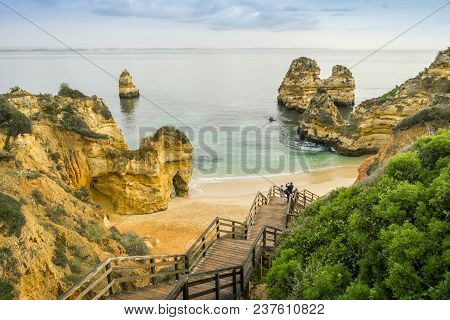 Beautiful Camilo Beach In The Morning, Lagos, Algarve, Portugal
