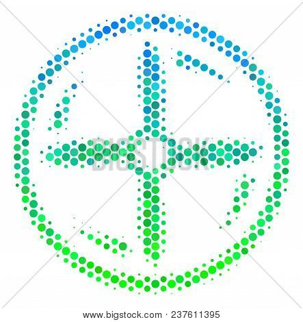Halftone Round Spot Drone Screw Rotation Icon. Pictogram In Green And Blue Color Tints On A White Ba