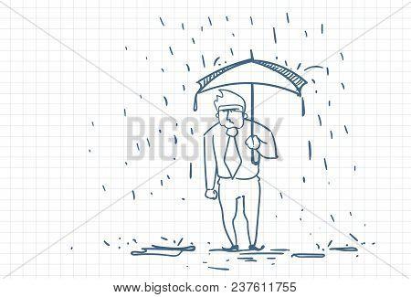 Upset Business Man Wet Under Rain With Umbrella Doodle Over Squared Paper Background Vector Illustra