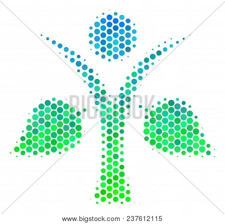 Halftone Dot Ecology Man Pictogram. Pictogram In Green And Blue Shades On A White Background. Vector