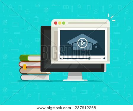 Education Via Online Video On Computer Vector Illustration, Flat Cartoon Desktop Pc And Video Webina