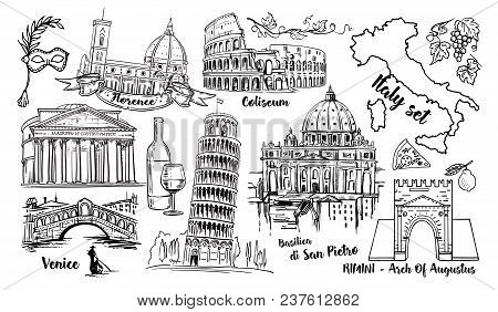 Italy Landmark Vector Sketch Set. Coliseum, Bridges Venice, Tower Pisa, Vatican, Rimini, Arch August