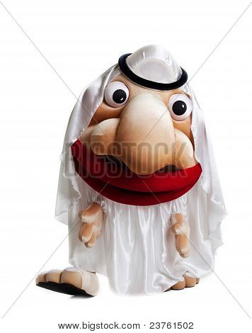 traditional arabian mascot costume isolated