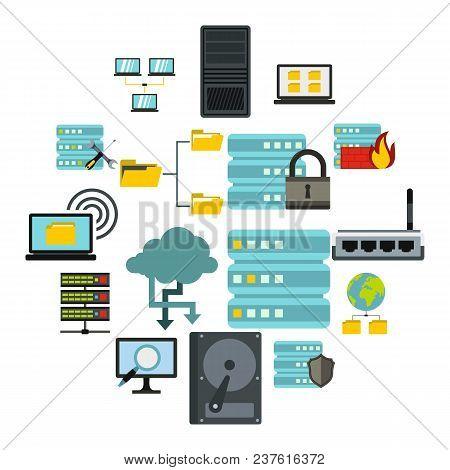 Flat Big Data Icons Set. Universal Big Data Icons To Use For Web And Mobile Ui, Set Of Basic Big Dat