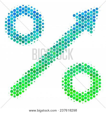 Halftone Circle Growing Percent Pictogram. Pictogram In Green And Blue Color Tinges On A White Backg