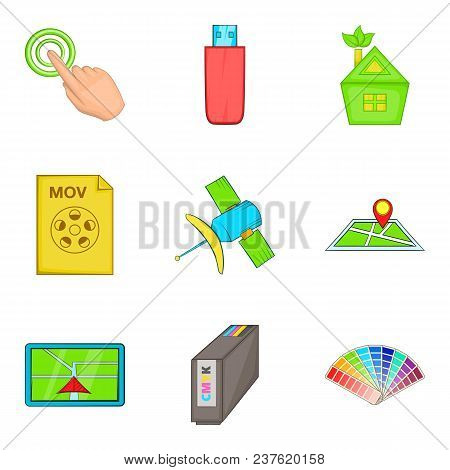 Interactive Icons Set. Cartoon Set Of 9 Interactive Vector Icons For Web Isolated On White Backgroun