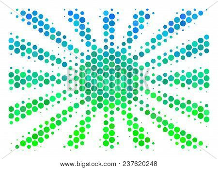 Halftone Circle Japanese Rising Sun Icon. Pictogram In Green And Blue Color Tones On A White Backgro