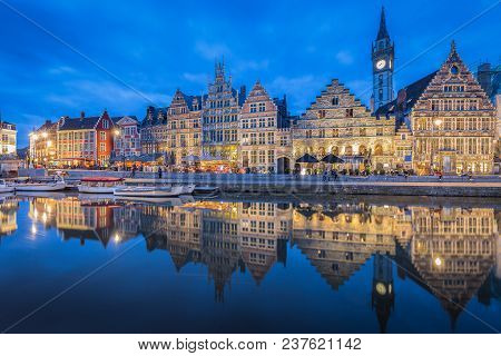 Panoramic View Of Famous Graslei In The Historic City Center Of Ghent Illuminated In Beautiful Post