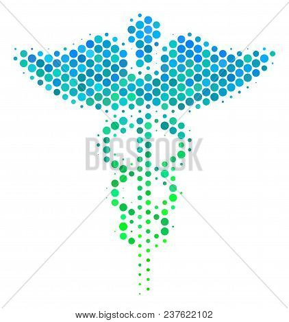 Halftone Round Spot Medicine Caduceus Symbol Icon. Icon In Green And Blue Color Tones On A White Bac