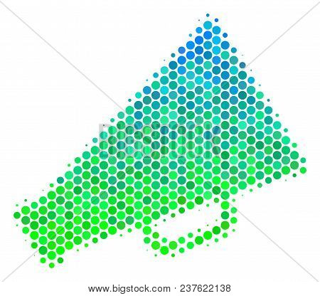 Halftone Dot Megaphone Pictogram. Pictogram In Green And Blue Shades On A White Background. Vector C