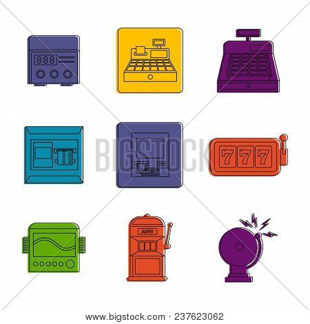 Electric Device Icon Set. Color Outline Set Of Electric Device Vector Icons For Web Design Isolated
