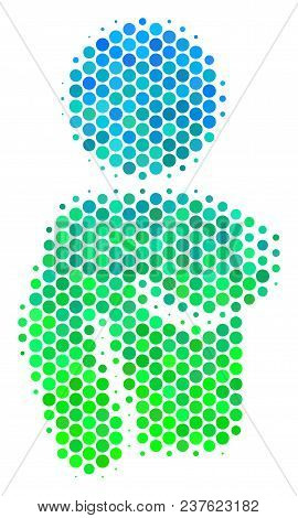 Halftone Round Spot Naked Woman Icon. Icon In Green And Blue Color Tints On A White Background. Vect