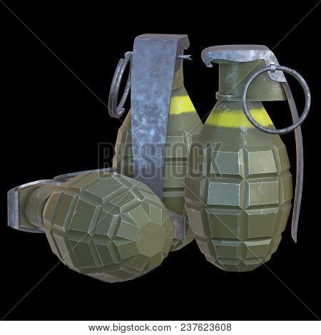 Hand Bomb Frag Grenade Green Metal With Scratches And Round Pin Over. 3d Render On Black