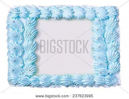 Cake In The Form Of A Floral Frame Isolated On White